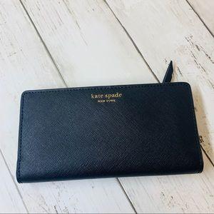 Cameron large slim bifold wallet black Kate spade